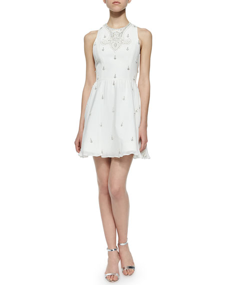 Alice + Olivia Gilda Embellished Lace-Back Dress, Off