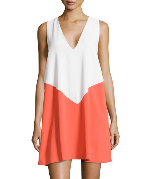 Alice + Olivia Maya Colorblock Trapeze Dress
