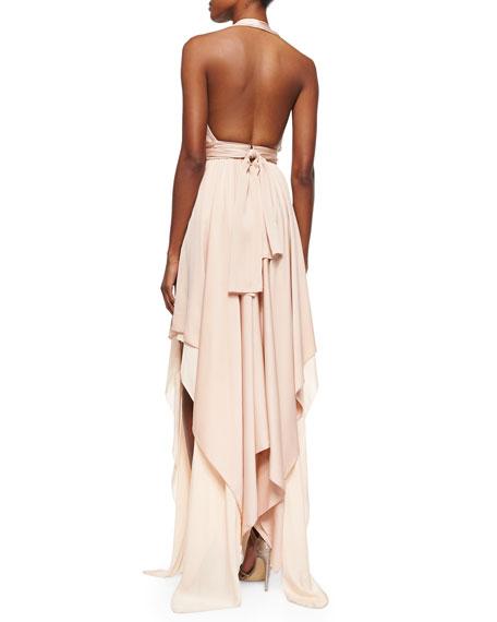 Lyndon Belted Deep-V Maxi Dress