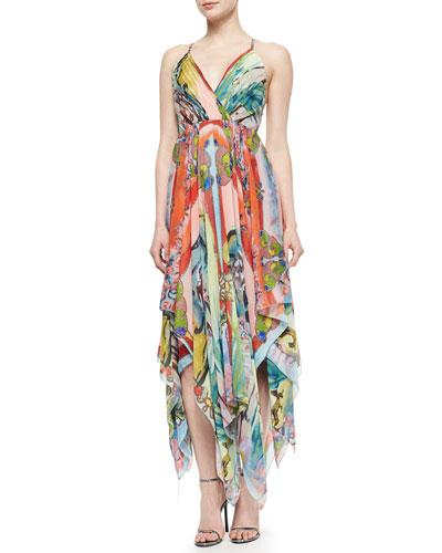 Orly Cross-Back Printed Chiffon Dress