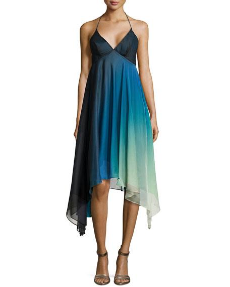 Halston HeritageOmbre High-Low Cocktail Halter Dress