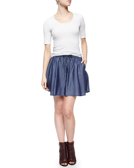 Feliz Pleated Chambray Short Skirt