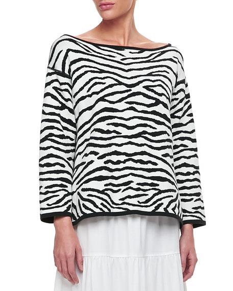 Reversible Animal Print Pullover Sweater, Women's