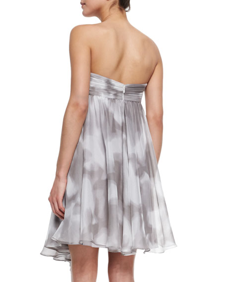 Strapless Draped Print Cocktail Dress