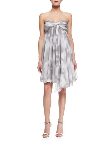 Halston Heritage Strapless Draped Print Cocktail Dress
