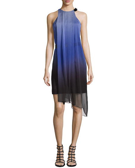 Halston Heritage Sleeveless Flowy Ombre Cocktail Dress