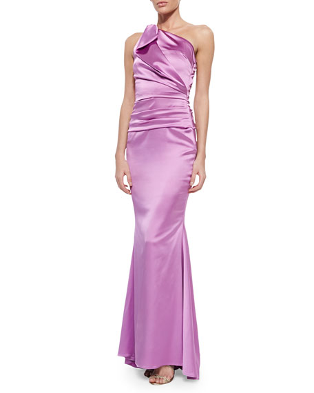 Talbot Runhof Bondi One-Shoulder Ruched Gown, Pink