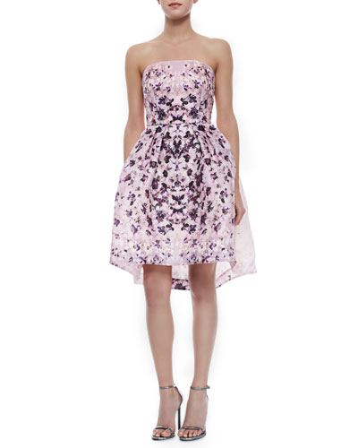Strapless Abstract Floral-Print Cocktail Dress