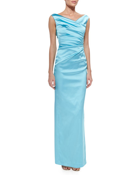 Talbot RunhofColly V-Neck Side-Ruched Gown, Aqua