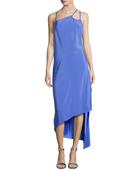 Halston Heritage Sleeveless Asymmetric Strappy Dress