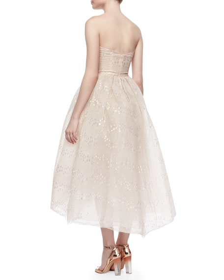 Strapless Iridescent Lace Tea-Length Dress, Blush
