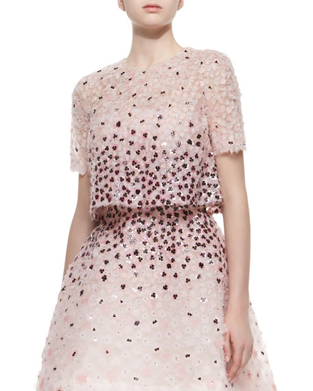 Monique Lhuillier Sequined Floral-Embroidered Split-Back Jacket,
