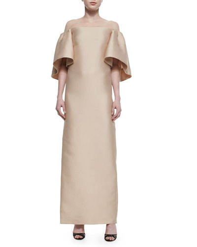 Ruffled Off-The-Shoulder Column Gown, Champagne