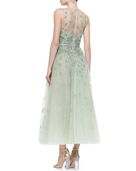 Floral Beaded Illusion Tulle Gown, Mint