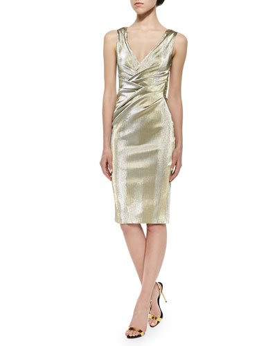 Gobelina Ruched Below-The-Knee Iridescent Satin Dress, Gold