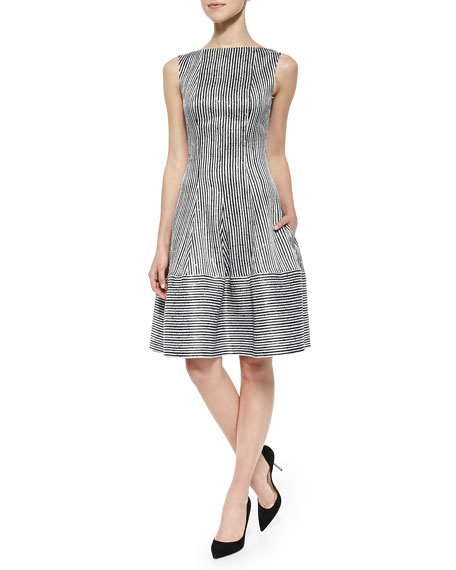Talbot Runhof Golo Sequined Striped Fit-And-Flare Dress,