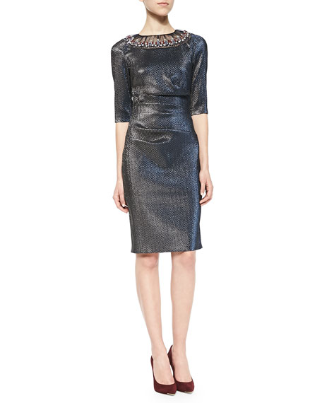 Talbot Runhof Goray Bejeweled Chiffon-Inset Brocade Dress, Silver