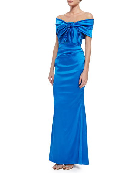Talbot RunhofGovanti Adjustable Off-The-Shoulder Twist Gown, Blue