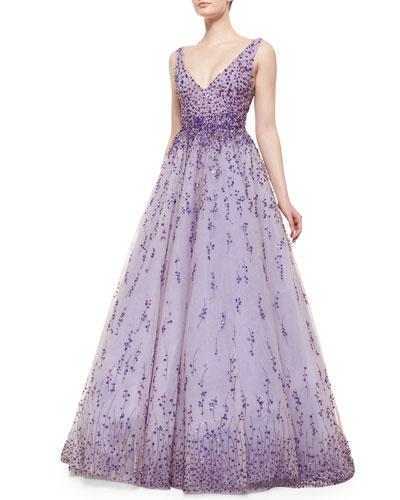 Floral Beaded Degrade Ball Gown, Violet