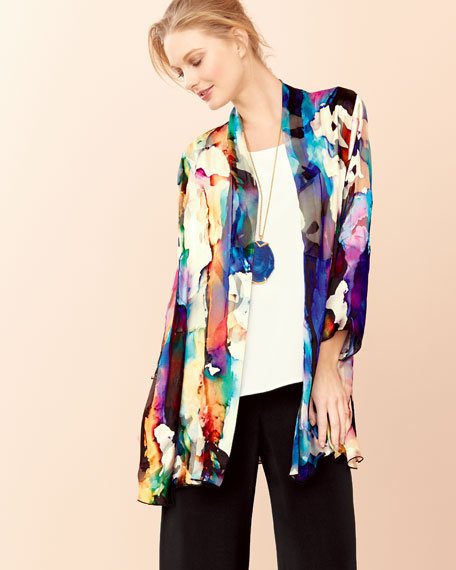 Hand-Painted Silk-Blend Devore Cardigan
