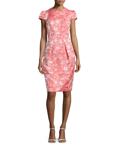 Carmen Marc ValvoFloral Jacquard Sheath Dress, Coral