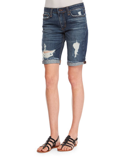Finn Distressed Denim Bermuda Shorts