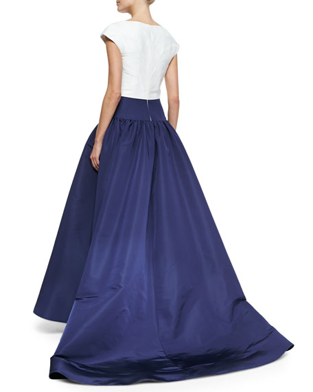 Cap-Sleeve Bicolor Drop-Waist Gown, Navy/White