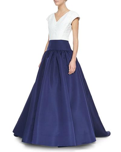 Cap-Sleeve Bicolor Drop-Waist Gown, Navy/White