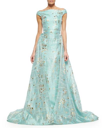Gold-Flecked Brushstroke-Print Overskirt Trumpet Gown