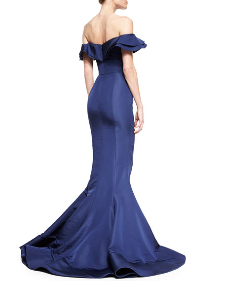 Layered Ruffle Off-The-Shoulder Gown