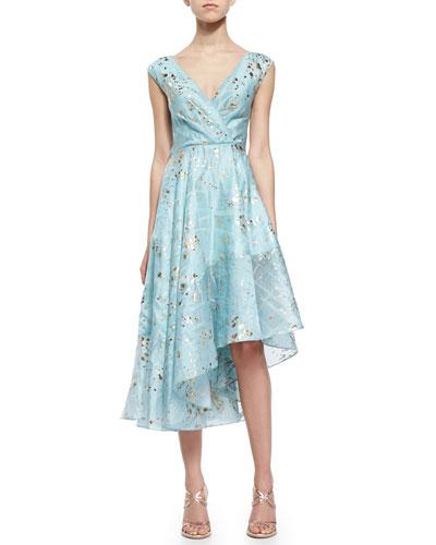 Gold-Flecked Asymmetric Ruffled Dress, Turquoise