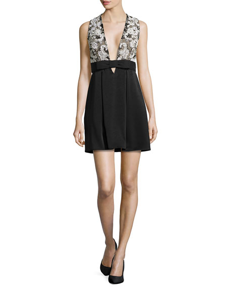 Haute Hippie Sleeveless Paisley-Embroidered Dress, Black