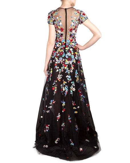 Floral Applique Tulle Gown
