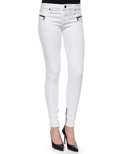 Jagger Zip-Trim Skinny Jeans, White