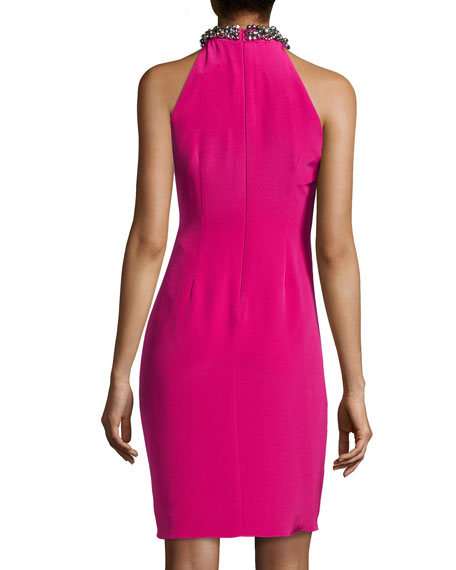 Beaded Halter Cocktail Dress, Framboise