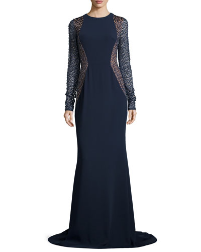 Lace-Sleeve Crepe Gown, Midnight/Nude