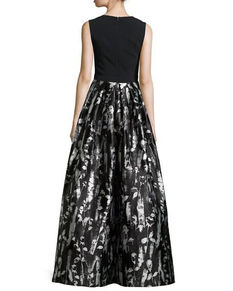 Floral-Print Sleeveless Gown, Black/White