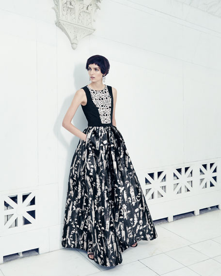Carmen marc valvo floral print sleeveless gown blackwhite floral print sleeveless gown blackwhite mightylinksfo