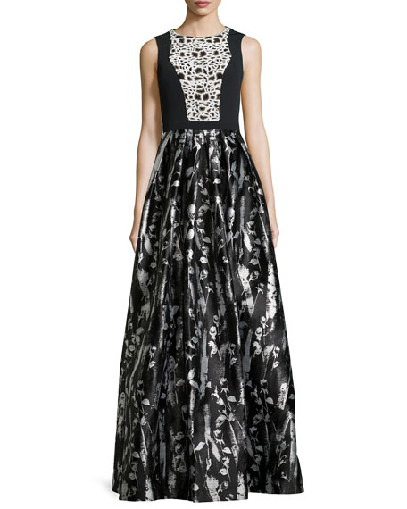 Carmen Marc Valvo Floral-Print Sleeveless Gown, Black/White