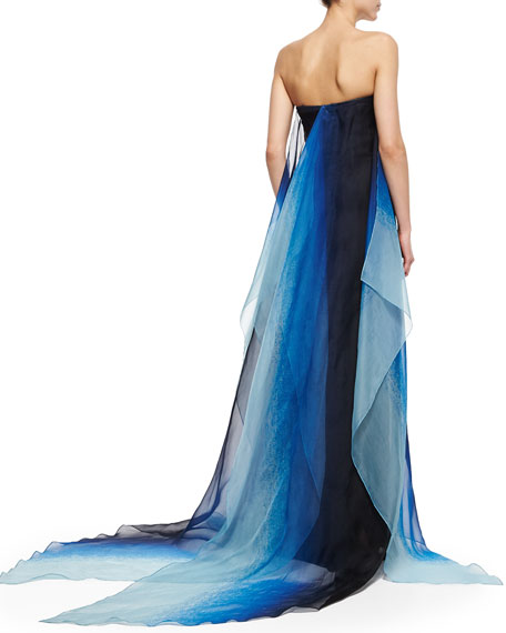 Strapless Ombre-Flutter Organza Gown, Indigo
