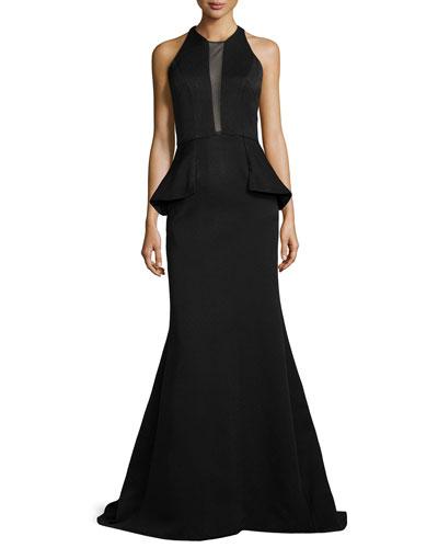 Sheer-Inset Peplum Mermaid Gown
