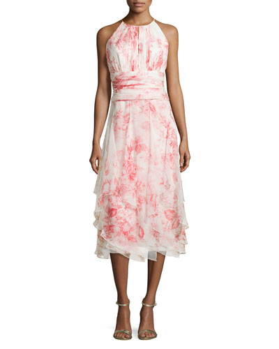 Sleeveless Floral-Print Tiered Cocktail Dress