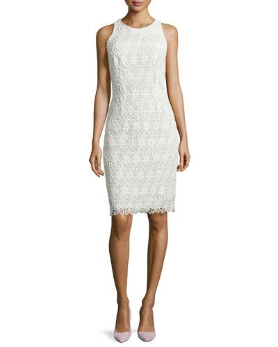 Sleeveless Lace Sheath Dress, Ivory/White