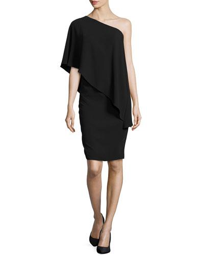 One-Shoulder Cape Cocktail Dress, Black