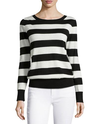 Striped Cashmere V-Back Top