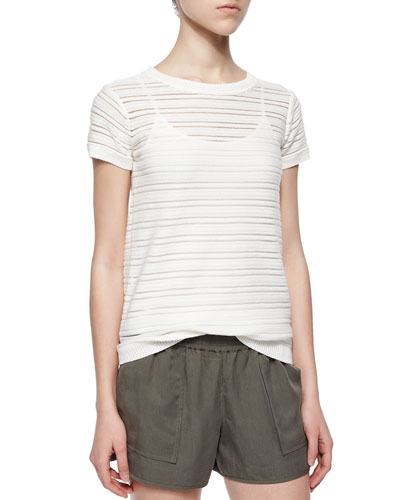 Ewan Short-Sleeve Illusion-Stripe Top