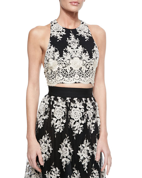 Alice + Olivia Tru Embroidered Sleeveless Crop Top