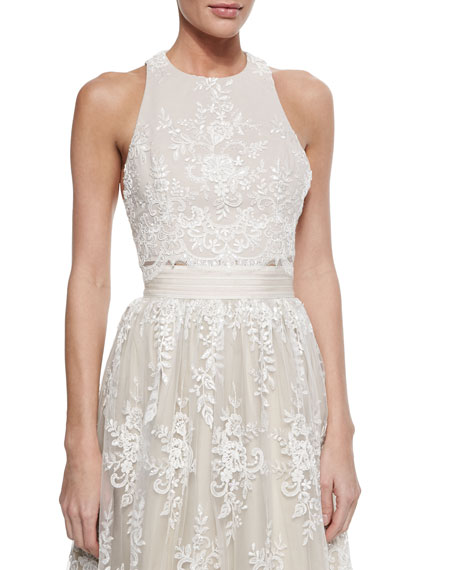 Alice + Olivia Blythe Embroidered Sleeveless Crop Top