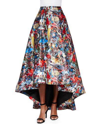 floral print high low skirt