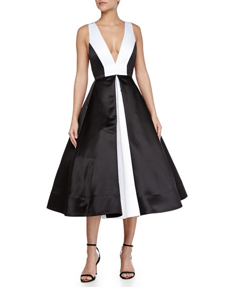 Brennan Deep-V Colorblock Dress, Black/White